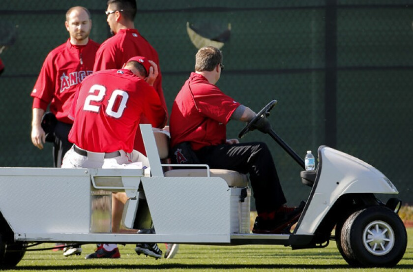 Angels pitcher Mark Mulder (20) is carted off the field after injuring his Achilles' tendon during a spring training workout on Saturday.