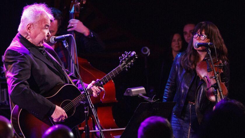 John Prine and Sara Watkins perform live during a tribute to John Prine at The Troubadour on Saturda