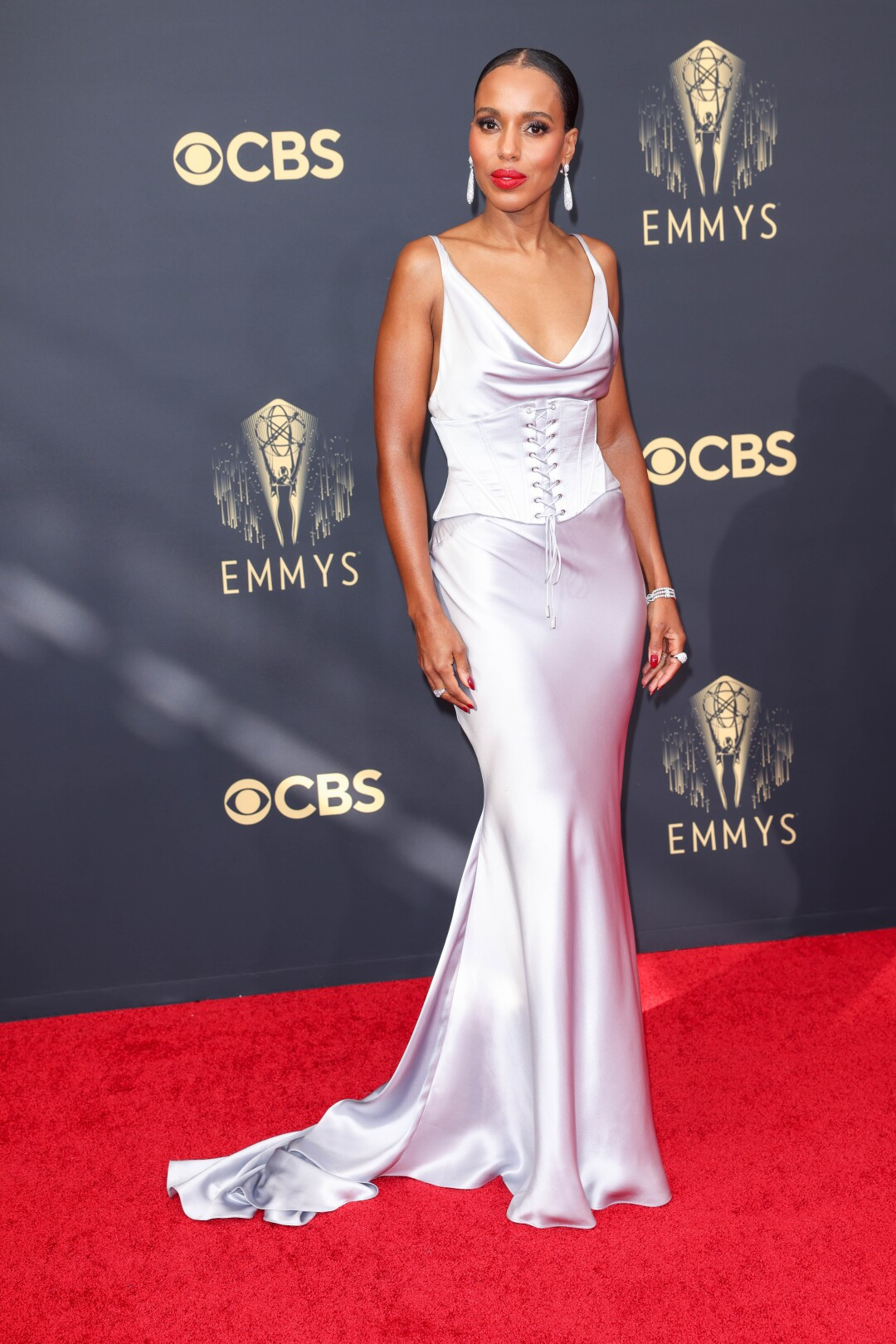Kerry Washington on the red carpet in a lavender gown.