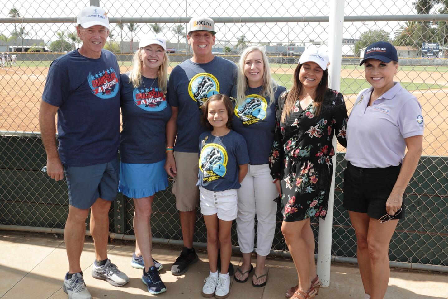 Brad and Beth Thorp (MTF co-founders); Brian, Jocelyn, and Tracy Croxen (MTF grant recipients); Kelly McLaughlin (MTF board member); Rebecca Jones (Mayor of San Marcos)