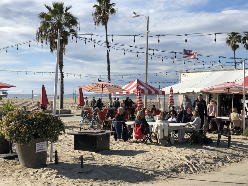 Perry Cafe, a hangout right on the sand in Santa Monica.