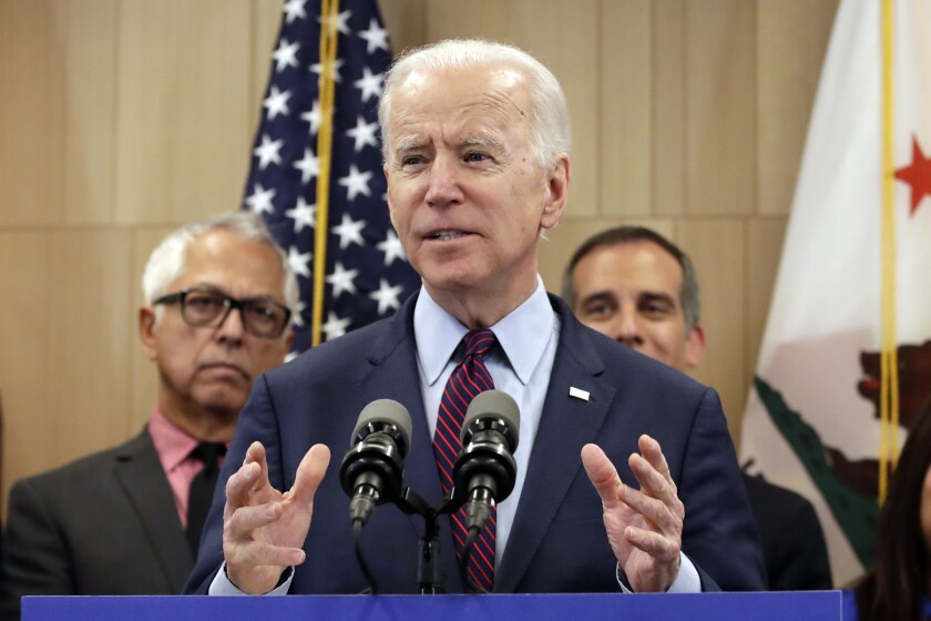 Democratic presidential candidate former Vice President Joe Biden speaks Wednesday, March 4, 2020, in Los Angeles. (AP Photo/Marcio Jose Sanchez)