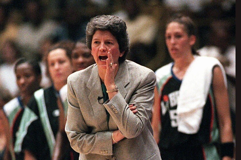 Nancy Darsch, then coaching the New York Liberty,  during the inaugural WNBA game against the L.A. Sparks in 1997.