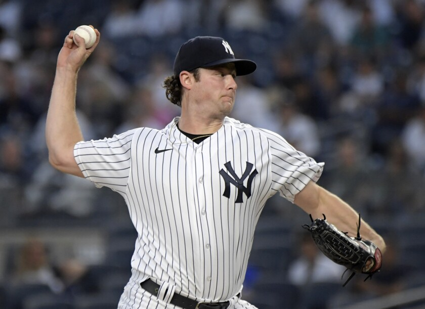 New York Yankees pitcher Gerrit Cole delivers the ball to a Toronto Blue Jays batter during the first inning of a baseball game Tuesday, Sept. 7, 2021, at Yankee Stadium in New York. (AP Photo/Bill Kostroun)