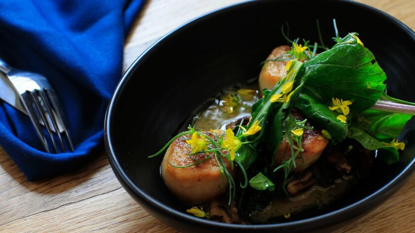 Chef Anthony Sinsay's Seared Sea Scallops With Chanterelle Mushrooms, Miso Butter and Choi Sum.