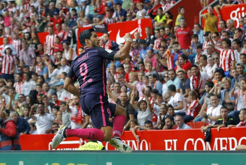El delantero uruguayo del FC Barcelona Luis Suárez, tras marcar el primer gol frente al Sporting de Gijón, durante el partido de la sexta jornada de la Liga de Primera División que se juega hoy en el estadio del Molinón de Gijon. EFE/Alberto Morante