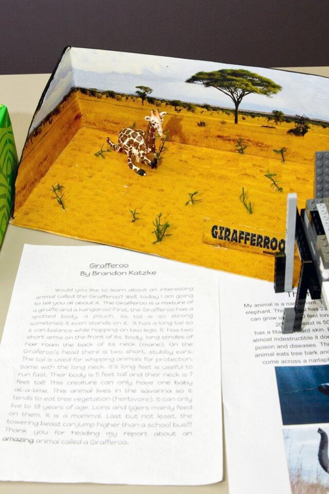 """A diorama and story about """"Girafferoo"""" was on display with other projects at the Solana Highlands School open house"""