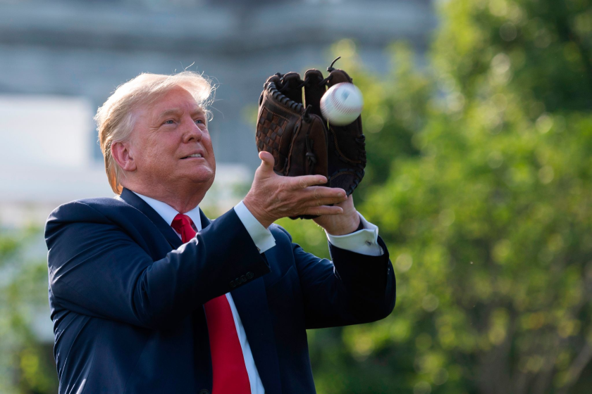 Donald Trump plays catch at the White House.