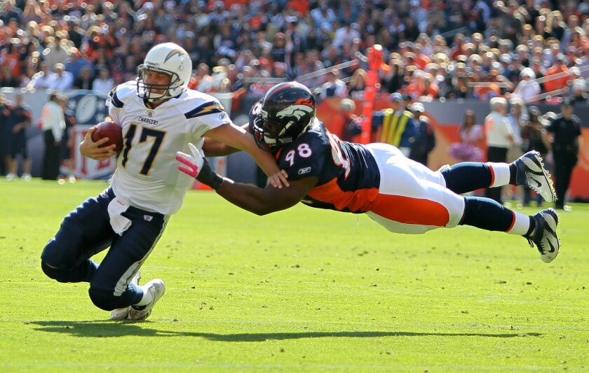 Philip Rivers is sacked by Kevin Vickerseon in the first quarter