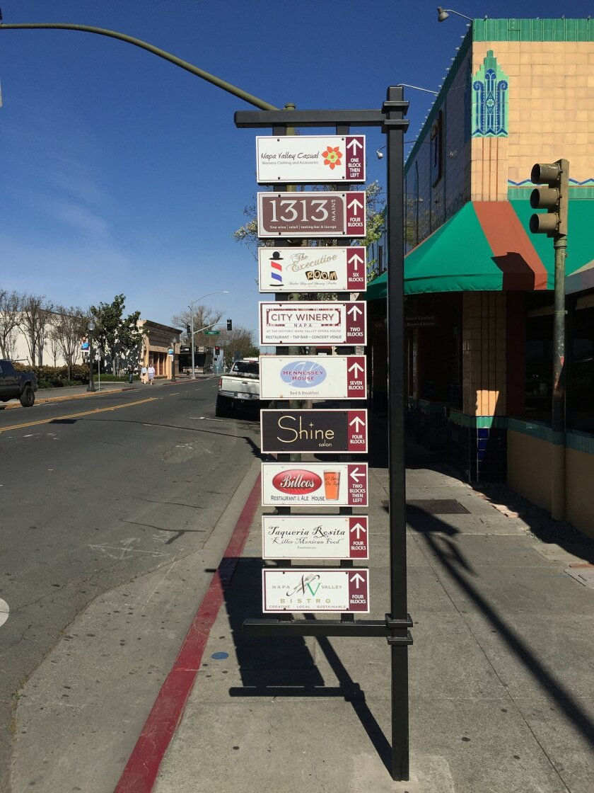 LJVMA is exploring a plan to add directional signage and maps throughout the Village that show the location of sponsoring businesses and key attractions. Trustee Claudette Berwin said signage like this installed in Napa four years ago is an example of what's possible in La Jolla. Napa's program als