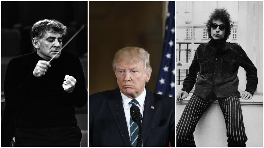 President Trump's proposed redlining of the National Endowment for the Arts faces some powerful history, including Leonard Bernstein, left, who led the Concert for Peace, and Bob Dylan, who pushed '60s popular culture.