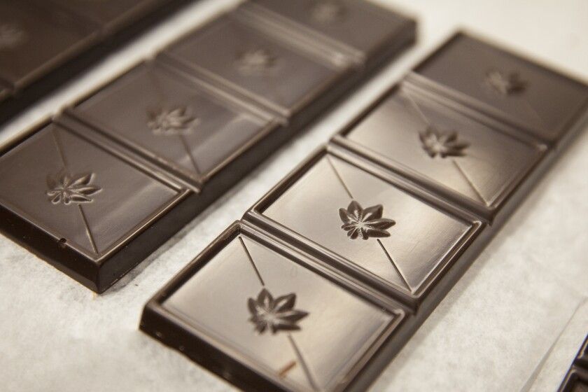 Edibles manufacturer Kiva Confections tests its hash for potency and impurities. It also tests the chocolate after it's been infused and samples of the finished porject.