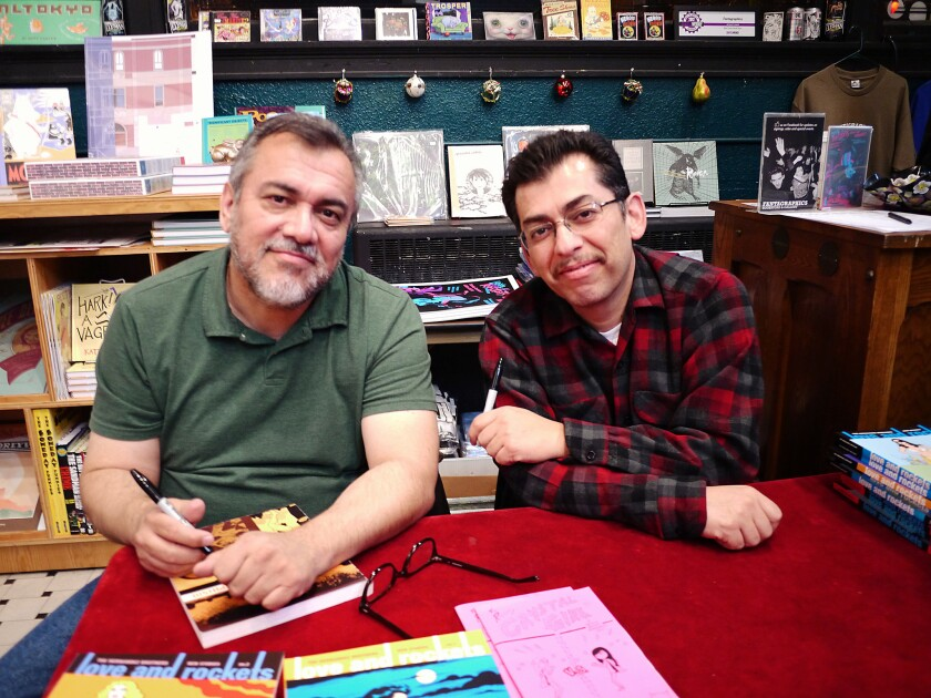 Writer Gilbert and Jaime Hernandez. Photo by Stephanie Rivers.