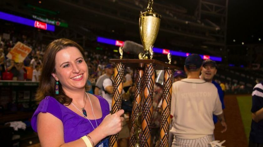 Bellantoni with the Congressional Baseball Game trophy in 2014.