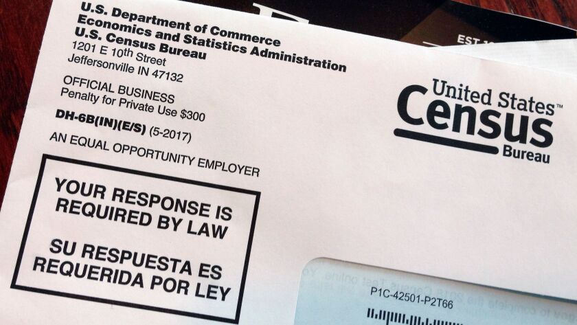 FILE - This March 23, 2018 file photo shows an envelope containing a 2018 census letter mailed to a