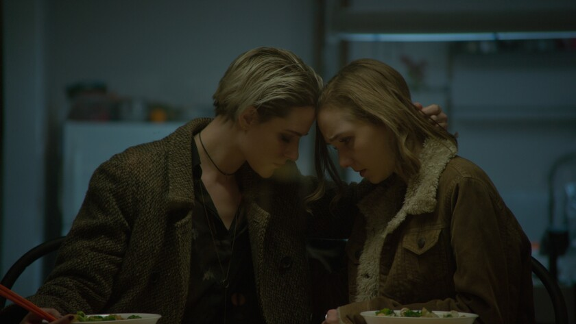 "Evan Rachel Wood, left, and Julia Sarah Stone in the movie ""Allure."""