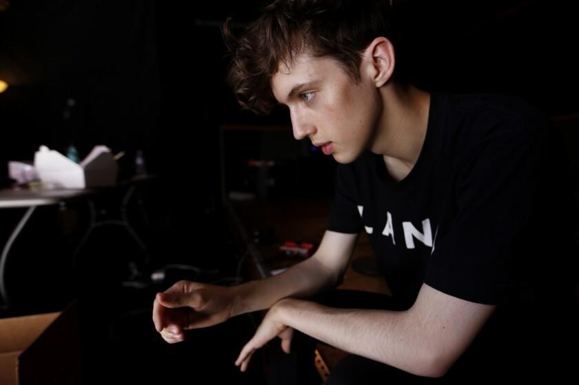 Troye Sivan in the rehearsal studio.