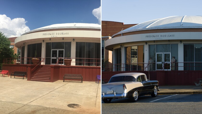 "Morehouse College's Douglass Hall, left, was made into the NASA headquarters for ""Hidden Figures,"" r"