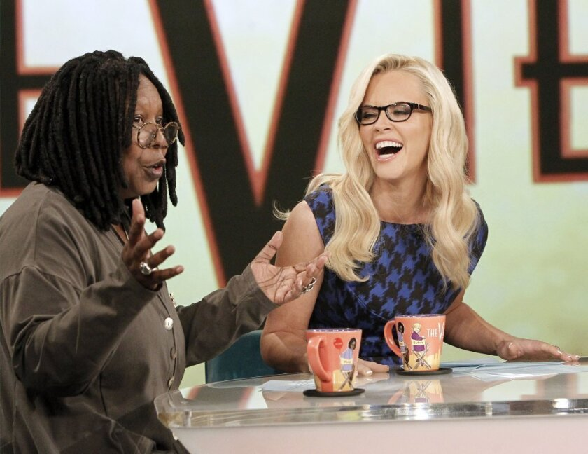 "Jenny McCarthy, right, with Whoopi Goldberg on ABC's ""The View."""