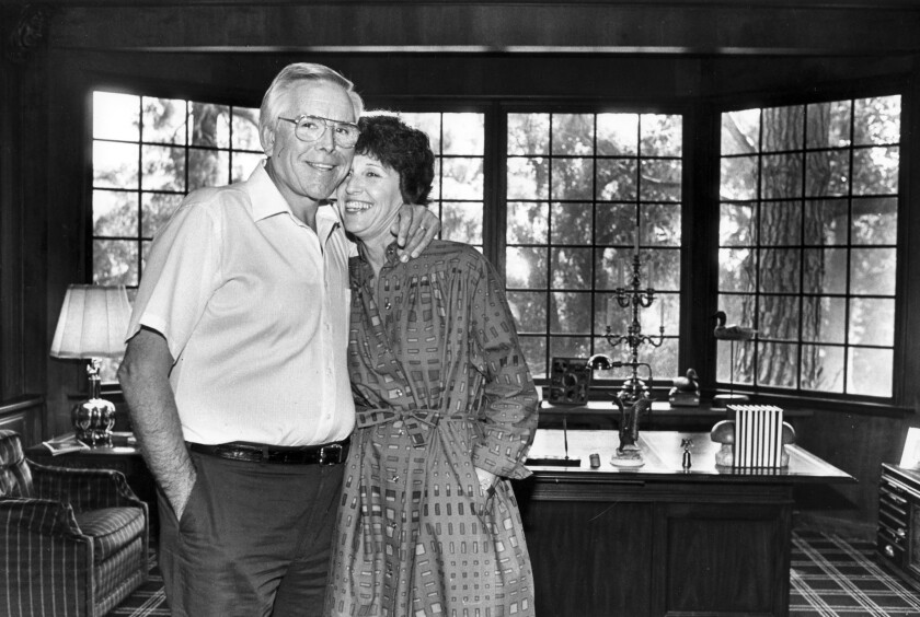 Robert and Arvella Schuller inside the study of their Orange home in 1983.