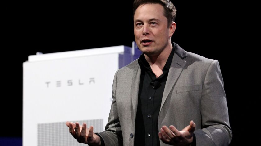 HAWTHORNE CALIF. - APR. 30, 2015. Tesla CEO Elon Musk unveils the Power Wall, a power storage unit t