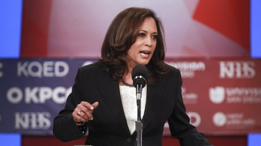 """At this past week's Senate debate, Kamala Harris said of the utilities commission, """"We are concerned about what's going on there, that's why there's an active criminal investigation. And the bottom line is this: We are going to go where the facts lead us."""""""