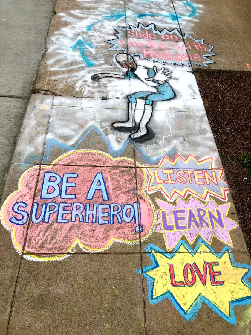 Amelia Leidy's sidewalk chalk creations include activities, messages and familiar characters.