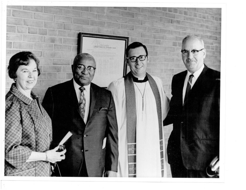 The Rev. Harvey Peters with Martin Luther King, Sr. at Peters' church in Southfield, Mich. in April, 1968. They are flanked by Rev. Peters' parents.
