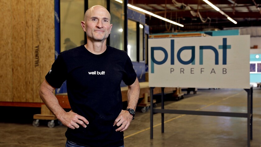 Steve Glenn, chief executive of Plant Prefab, is shown at the custom home builder's manufacturing facility in Rialto.