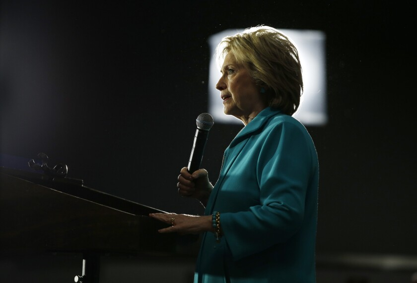 Hillary Clinton speaks at an International Brotherhood of Electrical Workers training center May 24 in Commerce.