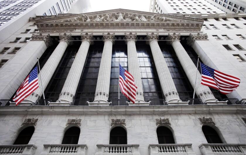 The New York Stock Exchange is seen in lower Manhattan.