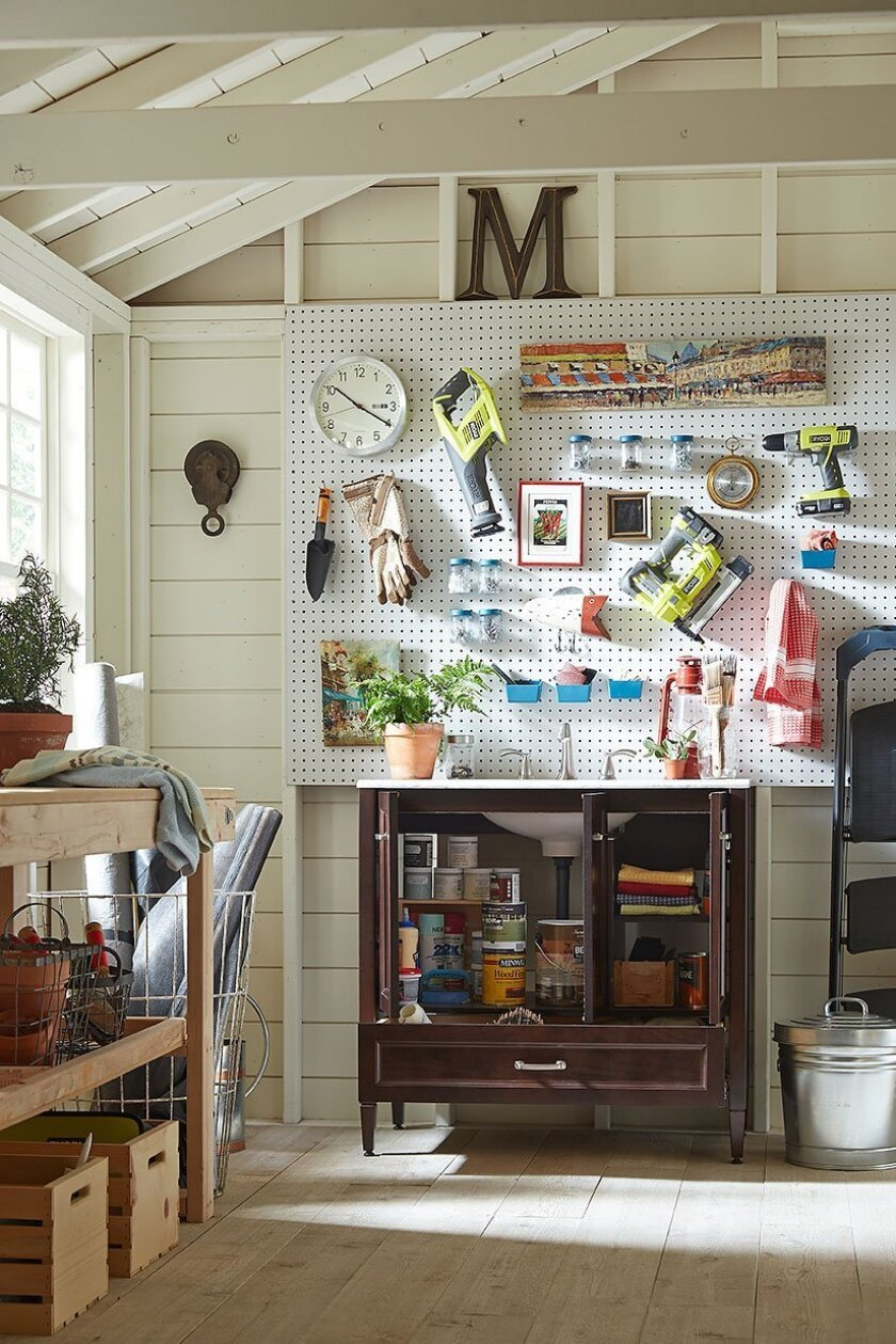 This photo provided by Home Depot shows that bathroom vanities can be used in the garage as a stylish alternative to traditional garage organization. Plus, the sink helps keep garage grime at bay. With so many bathroom vanity styles available, it's easy to find one that fits your budget. (Home Depo