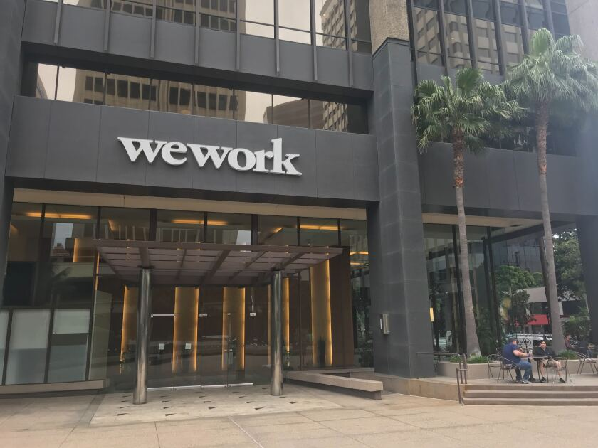 Sign for the WeWork offices at 600 B St. in downtown San Diego.