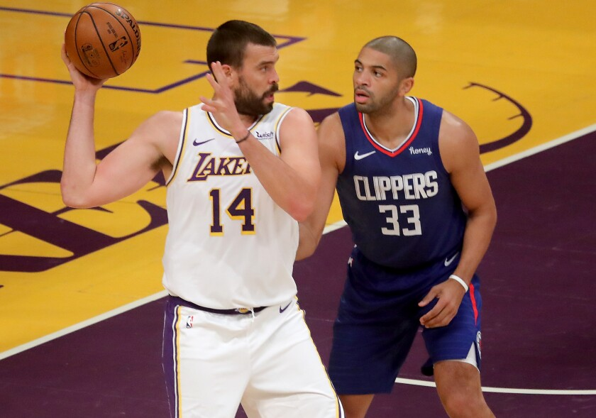 Lakers center Marc Gasol posts up against Clippers forward Malik Fitts.