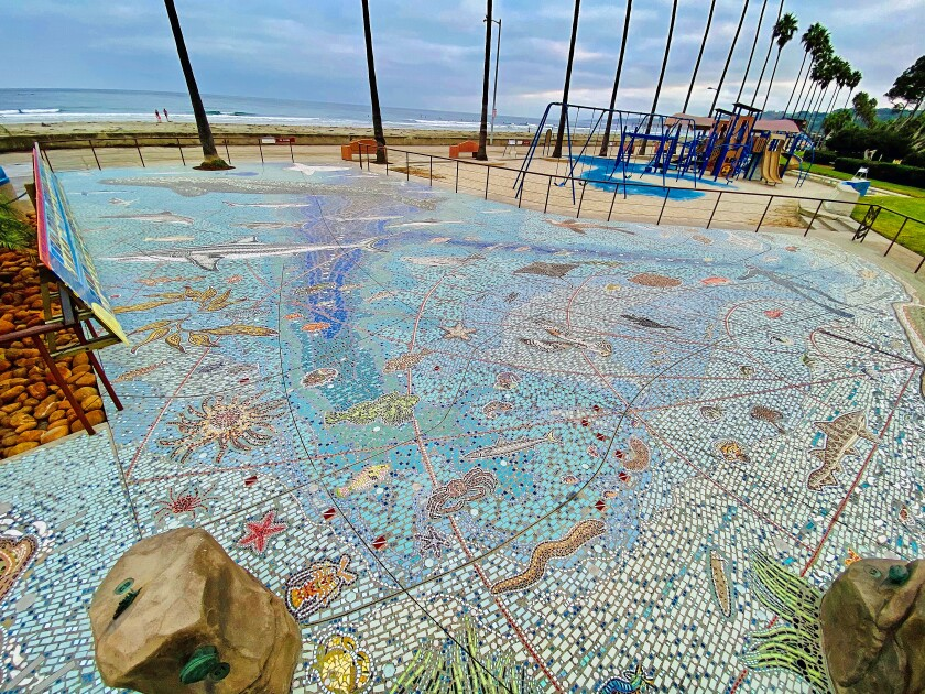 The Map of the Grand Canyons of La Jolla is a 2,200-square-foot LithoMosaic at Kellogg Park in La Jolla Shores.