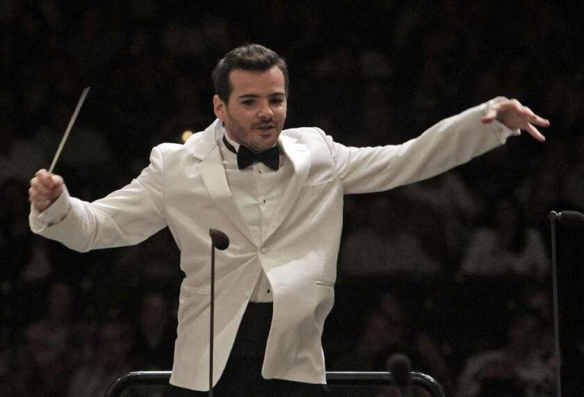 Lionel Bringuier conducts Tchaikovsky's Fifth Symphony at the Hollywood Bowl on Aug. 02, 2011.