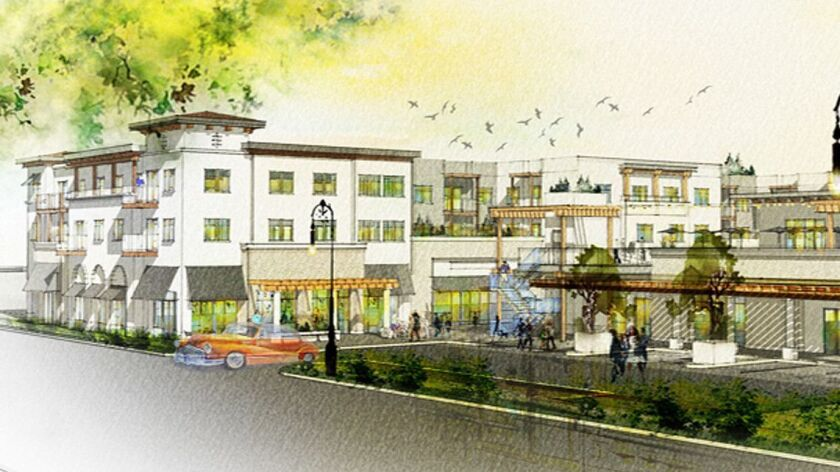 Artist's rendering of the three-building Outpost project in Poway that will include a 21,000-square-foot food hall run by 3LB Restaurant Group, which operates numerous restaurants, bars and markets in North County.