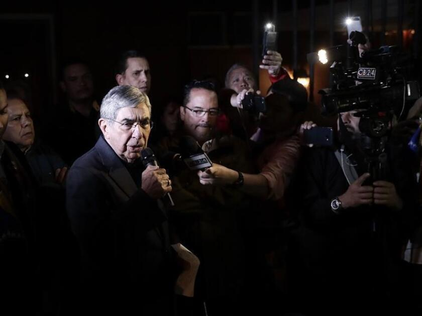 Photo dated Jan. 23, 2019, showing former Costa Rican President Oscar Arias during a press conference in San Jose. EFE-EPA/Jeffrey Arguedas