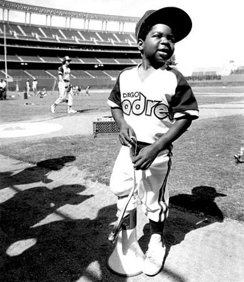 An 11-year-old Gary Coleman poses in a Padres baseball uniform during the making of a movie in San Diego on June 27, 1979. Coleman died Friday at Utah Valley Regional Medical Center in Provo, days after suffering a brain hemorrhage. He was 42.