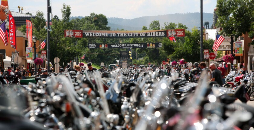 Bikes lined up last year in Sturgis, S.D., for the 74th annual Sturgis Motorcycle Rally. This year's 75th rally, Aug. 3-9, may draw as many as a million visitors.