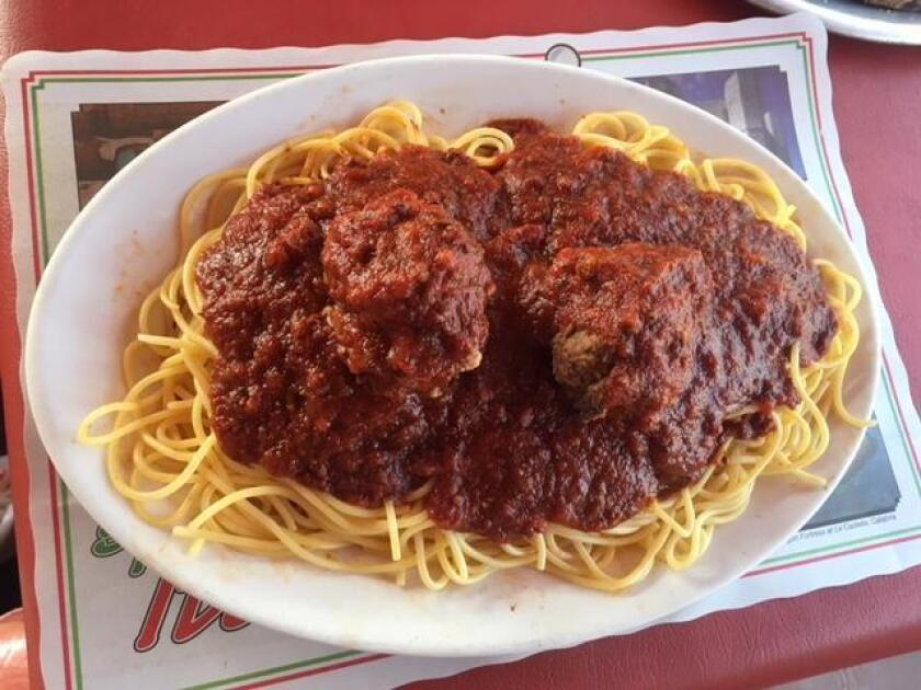 Comfort food: Spaghetti with meatballs at Pernicano's Family Restaurant in Pacific Beach