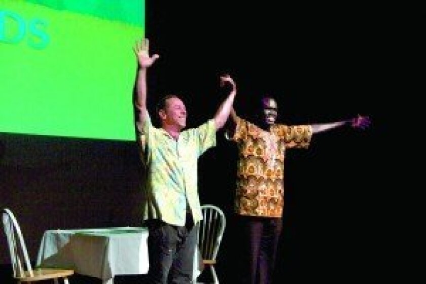 Two guests with dramatic stories to tell will speak at the Village Church in Rancho Santa Fe on Sunday, Sept. 28: Alepho Deng, right, one of the Lost Boys of Sudan, and mountaineer Dr. Jeff Salz.