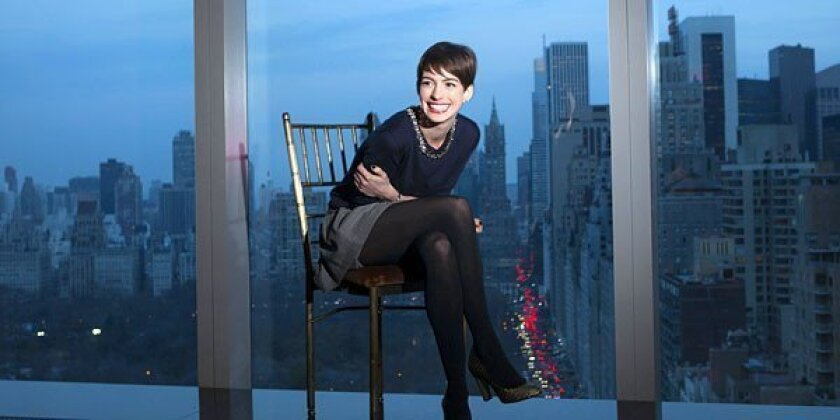 Actress Anne Hathaway at the Mandarin Oriental hotel in Manhattan.