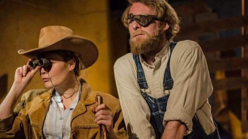 """Jacque Wilke as Macon and Brian Mackey as Will in Backyard Renaissance Theatre's production of """"Abundance,"""" now playing at Moxie Theatre in Rolando."""