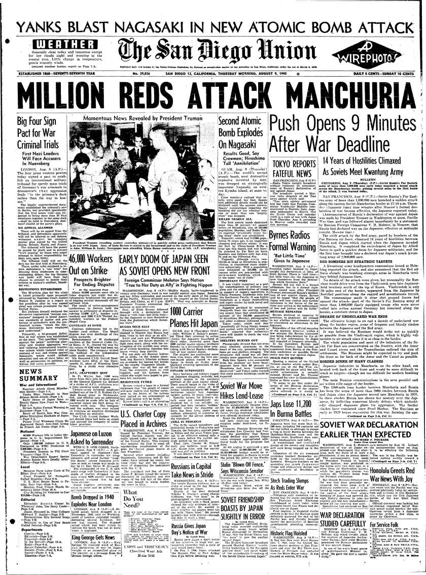 August 9, 1945 Union front page with headline on Nagasaki bombing