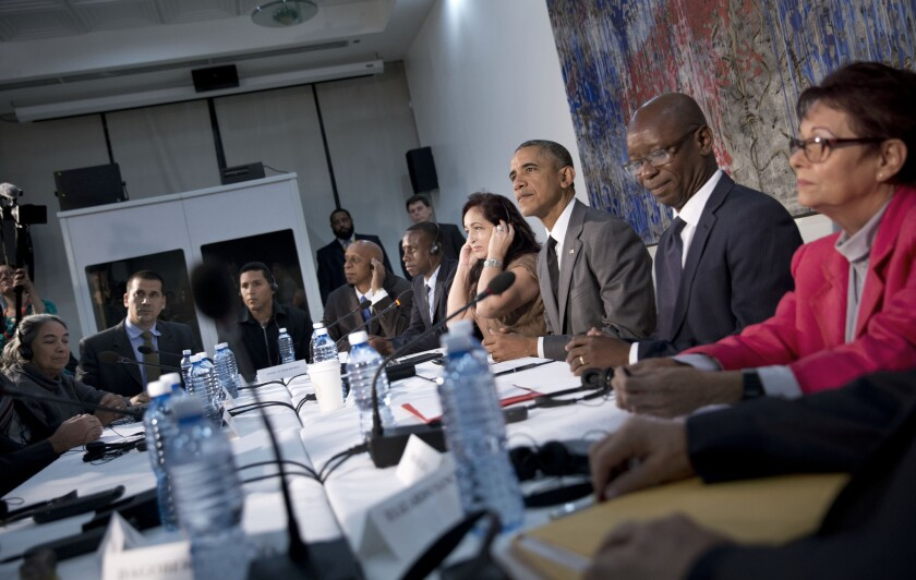 President Obama meets with Cuban dissidents Tuesday at the U.S. Embassy in Havana.