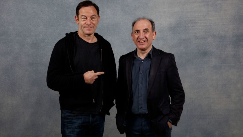 """Actor Jason Isaacs, left, and writer-director Armando Iannucci, from """"The Death of Stalin."""" Photographed during the Sundance Film Festival in Park City, Utah, on Jan. 21, 2018."""