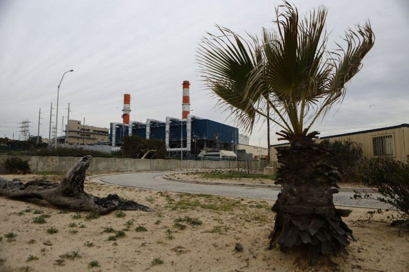 The Los Angeles Department of Water and Power plans to retire the gas-fired Scattergood Generating Station south of Los Angeles International Airport, seen in February.