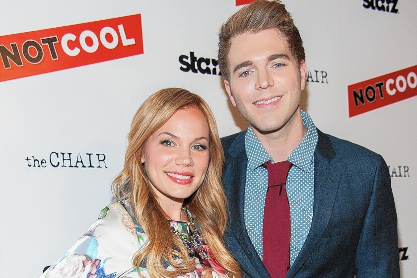 "Lisa Schwartz and Shane Dawson at the premiere Of Starz Digital Media's ""Not Cool"" at the Landmark Theater on Sept. 18, 2014, in Los Angeles."