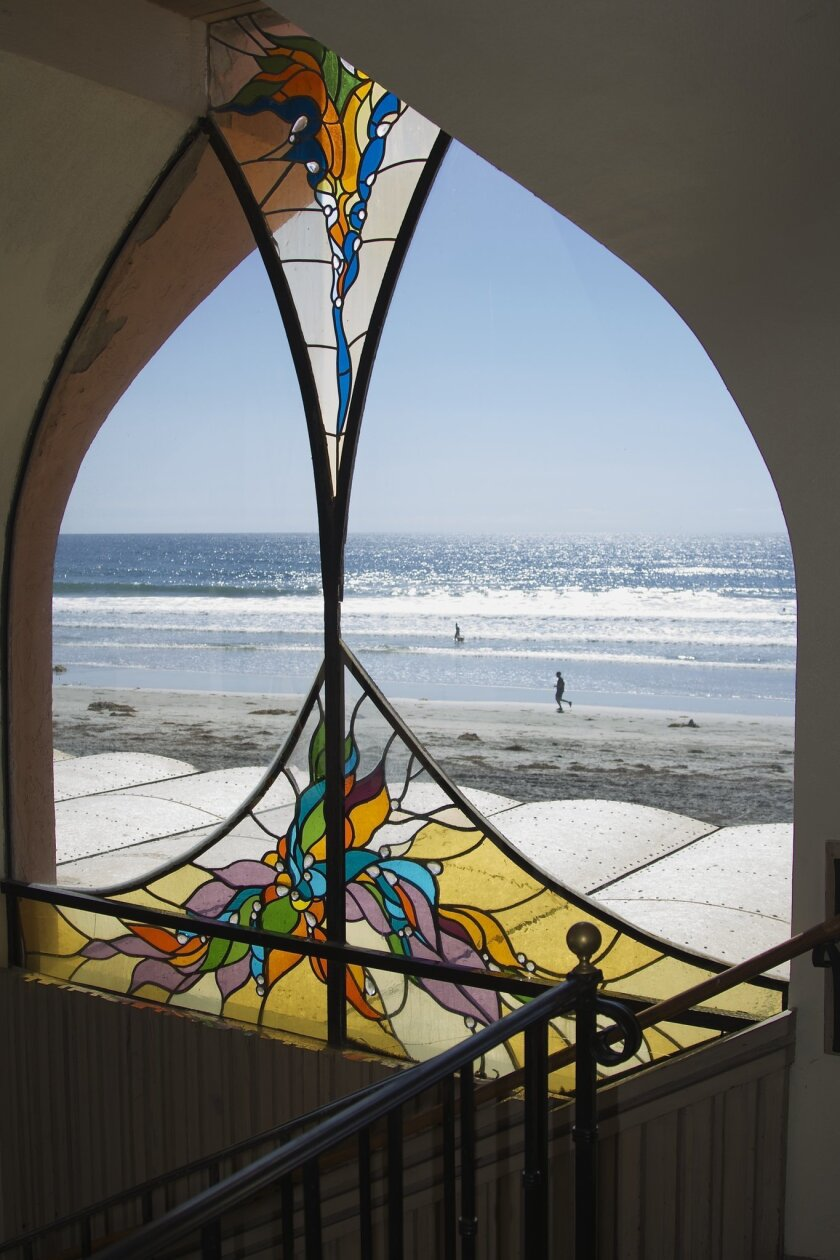 A stained glass window by James Hubbell that was removed last week from the now-closed Beach House restaurant in Cardiff. CREDIT: Courtesy photo